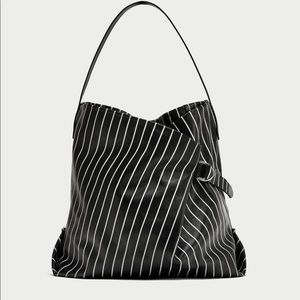 Striped Printed Leather Bucket Bag